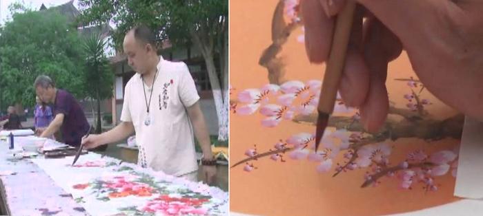 乐至县破体书法家协会在陈毅故里开展主题书画活动